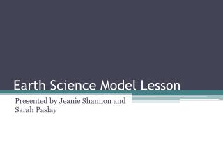 Earth Science Model Lesson