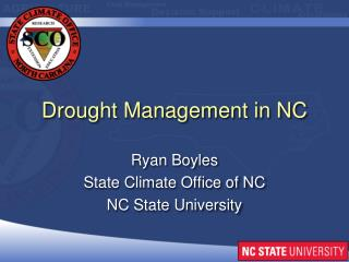 Drought Management in NC