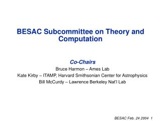 BESAC Subcommittee on Theory and Computation