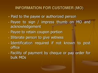 INFORMATION FOR CUSTOMER (MO)