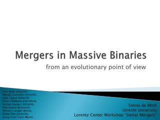 Mergers in Massive Binaries