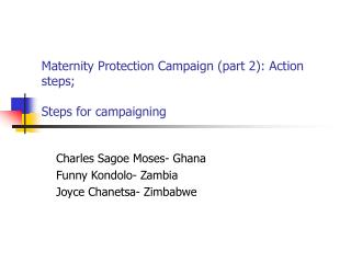 Maternity Protection Campaign (part 2): Action steps; Steps for campaigning