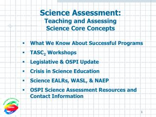 Science Assessment:  Teaching and Assessing  Science Core Concepts