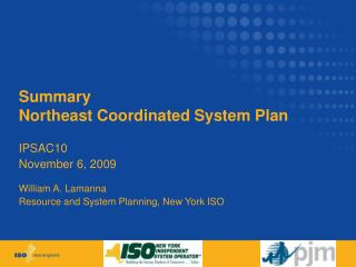 Summary Northeast Coordinated System Plan