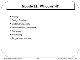 Module 22:  Windows NT