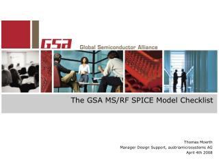 The GSA MS/RF SPICE Model Checklist