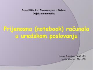 Sveučilište J. J. Strossmayera u Osijeku Odjel za matematiku