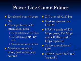 Power Line  Comm  Primer