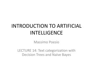 INTRODUCTION TO ARTIFICIAL INTELLIGENCE