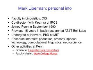 Mark Liberman: personal info