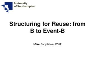 Structuring for Reuse: from B to Event-B