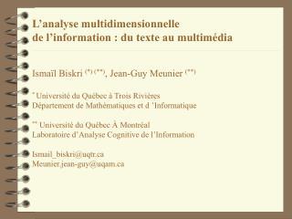 Analyse multidimensionnelle textuelle standard ( introduction)