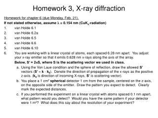 Homework 3, X-ray diffraction
