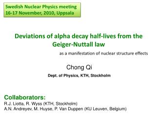 Chong Qi Dept. of Physics, KTH, Stockholm