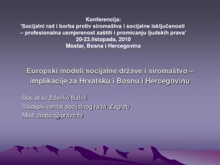 Europski modeli socijalne države i siromaštvo – implikacije za Hrvatsku i Bosnu i Hercegovinu