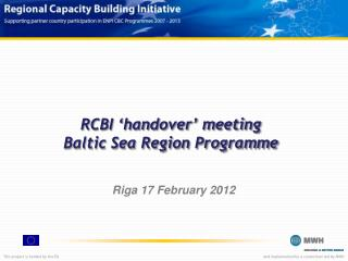RCBI 'handover' meeting Baltic Sea Region Programme