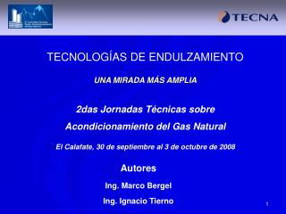 TECNOLOG AS DE ENDULZAMIENTO  UNA MIRADA M S AMPLIA  2das Jornadas T cnicas sobre Acondicionamiento del Gas Natural  El