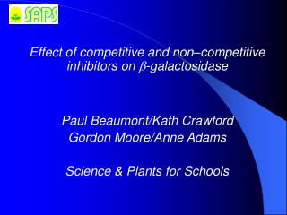 Effect of competitive and non � competitive inhibitors on  ? ? galactosidase