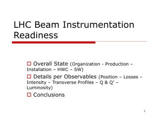 LHC Beam Instrumentation Readiness