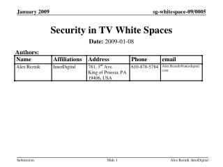 Security in TV White Spaces