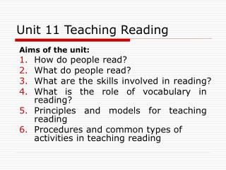 Unit 11 Teaching Reading