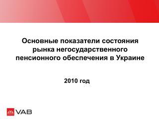 Основные показатели состояния рынка негосударственного пенсионного обеспечения в Украине
