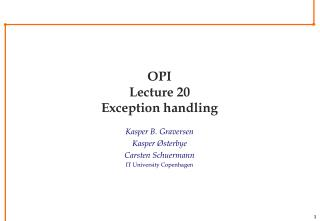 OPI Lecture 20 Exception handling
