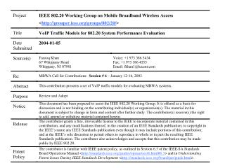 VoIP Models for 802.20 System Performance Evaluation
