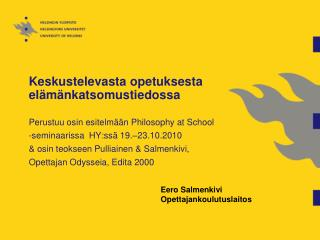 Eero Salmenkivi  Opettajankoulutuslaitos