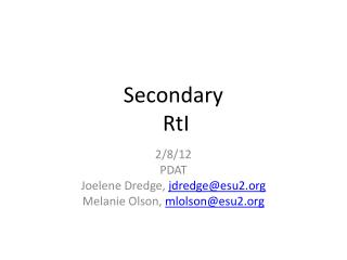 Secondary RtI