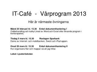 IT-Café  -  Vårprogram 2013