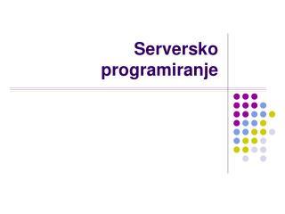 Serversko programiranje