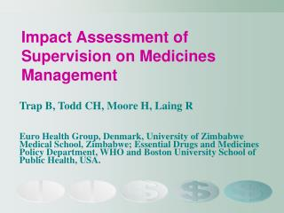 Impact Assessment of Supervision on Medicines Management