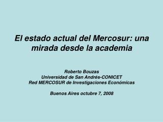El estado actual del Mercosur: una mirada desde la academia