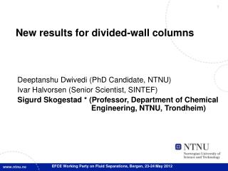 New results for divided-wall columns