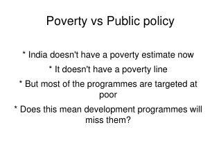 Poverty vs Public policy