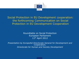 Roundtable on Social Protection European Parliament 11 th  April 2012