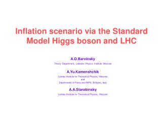 Inflation scenario via the Standard Model Higgs boson and LHC