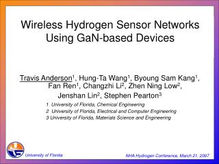 Wireless Hydrogen Sensor Networks Using GaN-based Devices
