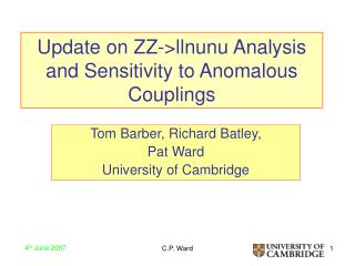 Update on ZZ->llnunu Analysis and Sensitivity to Anomalous Couplings