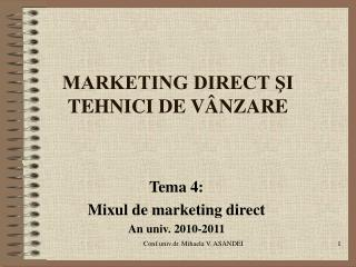 MARKETING DIRECT ?I TEHNICI DE V�NZARE