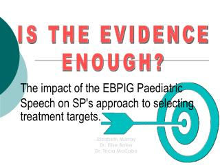 The impact of the EBPIG Paediatric Speech on SP's approach to selecting treatment targets.