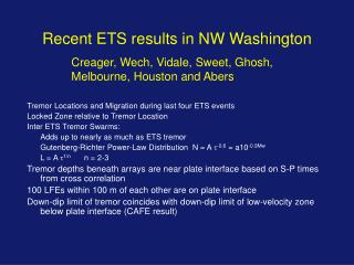Recent ETS results in NW Washington