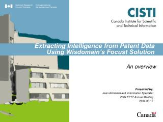 Extracting Intelligence from Patent Data Using Wisdomain's Focust Solution