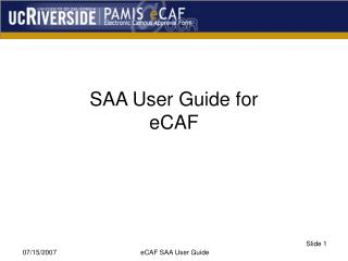 SAA User Guide for eCAF