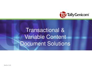 Transactional & Variable Content Document Solutions