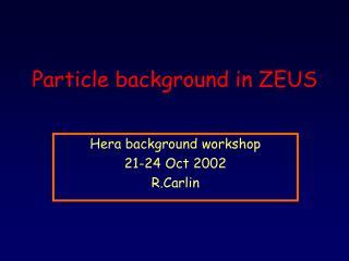 Particle background in ZEUS