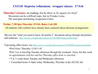 CS1110  Stepwise refinement,  wrapper classes   17 Feb