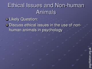 Ethical Issues and Non-human Animals