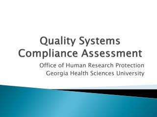 Quality Systems Compliance Assessment